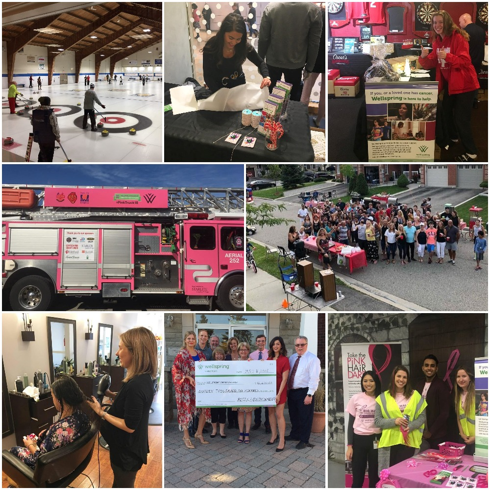 A collage of photos from third party events held to support Wellspring Chinguacousy
